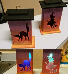 While I had the airbrushes out I painted these hanging boxes my Mom got unpainted from Michael's .sides are airbrushed while top is hand painted to my surprise they even light up different colors! Painted Boxes, Hand Painted, Birdhouses, Wood Boxes, Light Up, Different Colors, Mom, Pictures, Crafts