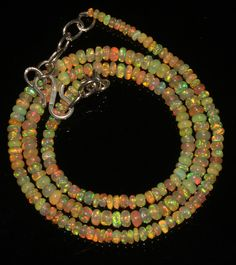 """32 Ctw1Necklace  2to4mm 16""""Beads Natural Genuine Ethiopian Welo Fire Opal 9107"""