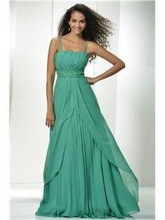 Popular A-line Spaghetti Straps Empire Waistline Beading Long Prom Dress & Prom Dresses online by circle