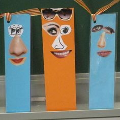 make some simple funny face bookmarks with cut outs from mags Bookmark Craft, Diy Bookmarks, Diy For Kids, Crafts For Kids, Arts And Crafts, Halloween Theme Preschool, 2nd Grade Art, Book Markers, Collage Art Mixed Media