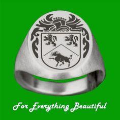 Knight Series Irish Surname Coat of Arms 10K White Gold Mens Ring