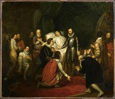 """Henri III, roi de France de 1574 à 1589, est assassiné le #2août 1589  """"Henri III à son lit de mort"""", Joseph Beaume"""
