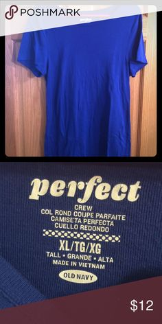 Perfect Tee NEVER WORN!! Beautiful vibrant blue tee! Fits beautiful and compliments your figure perfectly! Can be used for everyday life or business casual. Old Navy Tops Tees - Short Sleeve