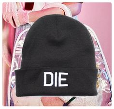 die: black beanie, white embroidery    hypenosis.com  http://facebook.com/hypenosis