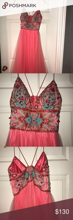 Formal dress Coral beaded top formal dress. Perfect for prom season. Only worn once. Size 2/4 Dresses Prom