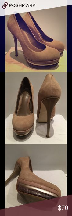 "Classy pumps Beautiful suede 5.5"" heels with a 1.4"" platform. The platform is tri color with a cool snakeskin effect. Just a beautiful shoe. I am a size 7. Carvela Shoes Platforms"