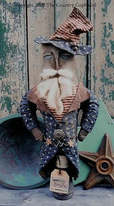 The Country Cupboard Primitive Folk Art Uncle Sam Make-Do Doll Craft Sewing Pattern Americana Decor