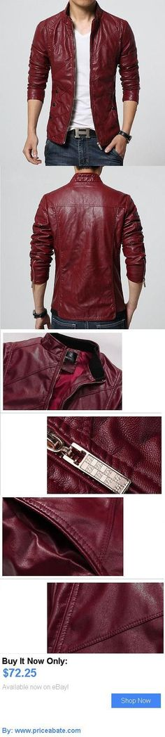 Men Coats And Jackets: Mens Leather Jacket Slim Fit Motorcycle 3Xl Chinese Size Solid BUY IT NOW ONLY: $72.25 #priceabateMenCoatsAndJackets OR #priceabate