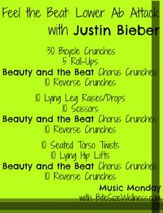 Music Monday: Beauty and a Beat Lower Abs Routine with Justin Bieber BiteSizeWellness.com #fitfluential #musicmonday