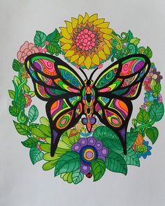 ColorIt Free Coloring Pages Colorist: Lisa Popovich #adultcoloring #coloringforadults #adultcoloringpages #freebiefriday #butterfly
