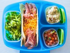 Recipe of the Day: Take-to-School Taco Bar          Send your little ones to school with deli meat inside soft tortillas, plus containers of traditional taco toppings like salsa, sour cream and lettuce, and let them assemble their own lunches before eating.            #RecipeOfTheDay
