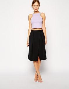 asos // midi skirt with crossover front in scuba