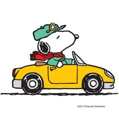 Snoopy styling In his yellow car.