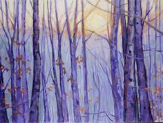 "Winter is a time for the earth to sleep and renew for spring. In Lynn Dunbar's ""Winter Solstice"" we see how the REFLECTION of the sun creates beautiful gold & lavender hues in and around the forest. Brenda's Blog"