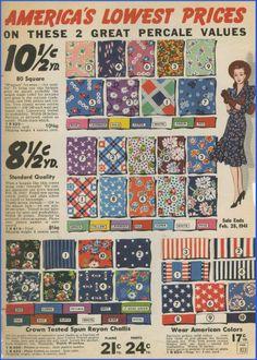 1940's fashion fabric prints