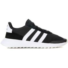Adidas Originals Fabric and Leather Sneakers ($100) ❤ liked on Polyvore featuring shoes, sneakers, adidas originals trainers, real leather shoes, black and white sneakers, black and white leather shoes and leather sneakers