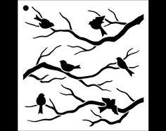 Birds & Branches Pattern Stencil   Select Size  por StudioR12