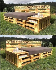 There are many ideas to create the pallet garden couch, but this one is unique because it not only fulfills the seating needs; but also allows space to store the books and other documents. There is also a table type smooth space to place the cups. #PalletGarden