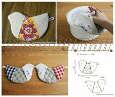 Wonderful DIY Cute Fabric Kitten Coaster With Template Fabric Crafts, Sewing Crafts, Sewing Projects, Diy Crafts, Patchwork Quilting, Quilted Potholders, Diy Butterfly, Diy Couture, Creation Couture