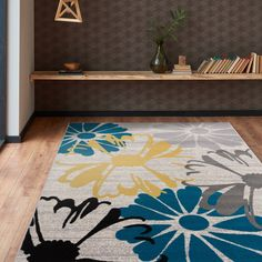 Contemporary Modern Large Floral Flowers Area Rug Cream - x Ivory, OSTI - x (Polypropylene, Floral & Botanical) Modern Floral Design, Large Area Rugs, Online Home Decor Stores, Home Improvement Projects, Floral Flowers, Colorful Rugs, Geometric Shapes, Entryway Decor, Contemporary Style
