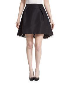 B38AW Carolina Herrera Pleated-Front Lace-Trim Skirt, Black
