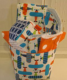 Airplane Baby Gift Basket Burp Cloth Bib Rattle by EmmaGirlDesigns, $37.50