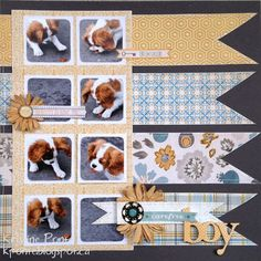 Cute page and lots of adorable details. #scrapbook #layout #dog #cute #photo #strip #instagram #puppy