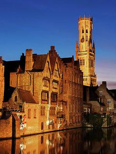 Bruges Belfry At Night Print by Barry O Carroll Bruges, Belgium, Fine Art America, Night, Building, Prints, Photography, Travel, Fotografie