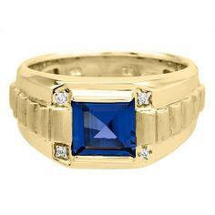 Men's Square Sapphire Gemstone Diamond Yellow Gold Ring by gemologica on Etsy