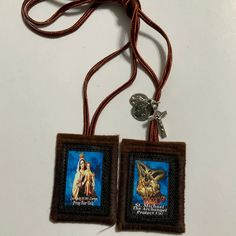St. Michael The Archangel Brown Scapular Handmade 100% Wool in | Etsy Catholic Gifts, Archangel, St Michael, Pendant Necklace, Wool, Brown, Handmade, Etsy, Jewelry