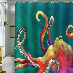 Mardi Gras Octopus on Seagrass Shower Curtain! Exclusively at Deny designs! claranilles.blogspot.com