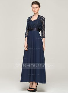 A-Line/Princess Sweetheart Ankle-Length Chiffon Charmeuse Lace Mother of the Bride Dress (008062564)