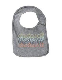 Cincinnati Ohio Retro Funny Infant Jersey Bib Athletic Heather One Size, Grey