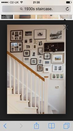 Awesome Cottage Plans in Classic and Natural Look : Family Memory Wall Pictures Near Staircase Cottage Interior Stairway Gallery Wall, Stair Gallery, Memory Wall, Stair Photo Walls, 1930s House, Cottage Plan, Cottage Interiors, Round House, Home And Deco