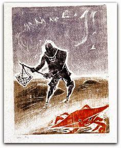 Siri, 1955 de Oswaldo Goeldi acervo da da Pinacoteca do Estado   http://sergiozeiger.tumblr.com/post/101432982988/oswaldo-goeldi-rio-de-janeiro-31-de-outubro-de  O reconhecimento torna-se mais evidente a partir de 1950, ano em que expõe na 25ª Bienal de Veneza. Um ano depois, ganha o prêmio de gravura da 1ª Bienal Internacional de São Paulo. Nessa década, a cor aparece de maneira mais pronunciada em suas gravuras.