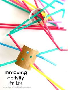 Fine motor threading activity using straws and cardboard tubes #cardboardtubes #straws #craftsforkids #finemotor #finemotorskills #finemotordevelopment #learnwithplay #recycle #reuse #repurpose #kidsrecycle #funforkids #threadingactivity #threading #todd Fine Motor Activities For Kids, Motor Skills Activities, Toddler Learning Activities, Infant Activities, Fine Motor Skills, Fun Activities, Kids Learning, Educational Activities, Kids Motor