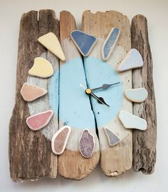 Stunning Sea Pottery Driftwood Clock - available to purchase here / click the image or link for more info. Beach Crafts, Diy And Crafts, Arts And Crafts, Driftwood Projects, Driftwood Art, Driftwood Ideas, Diy Projects, Woodworking Projects, Sea Glass Crafts