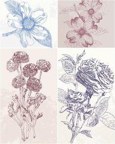 vintage flower graphic | vintage hand drawn flowers vector set of 4 beautiful vector vintage ...