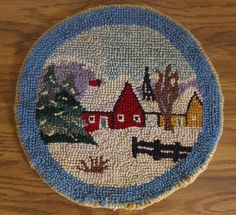 Vintage HOOKED RUG CHAIR PAD Country SNOW Christmas WINTER Round ...