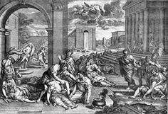 The Black Death -This copper engraving by Pierre Mignard depicts the Bubonic Plague epidemic.