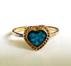 Vtg 1970s Heart Inlay Turquoise Stacking Gold Tone Ring Sz 4.5 Dainty Minimalist #NotSigned #Stacking