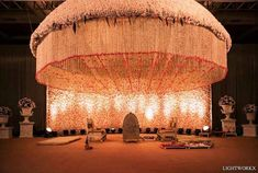 11 NEVER SEEN BEFORE Mandap Designs that'll Leave You Speechless! - Made with fresh and real flowers, this mandap setting with a white floral backdrop and a dome with c - Desi Wedding Decor, Wedding Stage Decorations, Engagement Decorations, Wedding Mandap, Floral Wedding, Masquerade Decorations, Garland Wedding, Wedding Receptions, Mandap Design