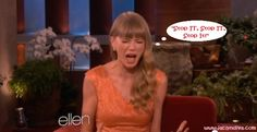 Does the Name Ring a Bell? Video #Ellen teases the living SH*T out of young songstress #TaylorSwift, 22, on the Ellen Show.During the show Ellen DeGeneres asked Taylor Swift about the men she's dated and which song from her album 'Red' is about her ex-boyfriends.Since Taylor tends not to answer such questions, Ellen gave her a bell, and showed ... http://www.jaclyndiva.com/entry/taylor-swift-teased-by-ellen-about-ex-boyfriends-songs