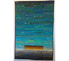 "Teal quilted wall hanging. Modern quilt. Abstract textile art. Art quilt. Landscape quilt. Teal fiber art. One fine day. 32x48 "". OOAK. by AnnBrauer on Etsy"