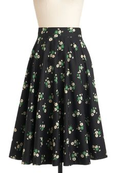Twirling Through Town Skirt by Emily and Fin - Cotton, Long, Black, Green, Tan / Cream, A-line, Floral, Work, Casual, Vintage Inspired, 50s, Spring, International Designer