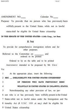 Ted Cruz amendment on Rubio Schumer amnesty bill