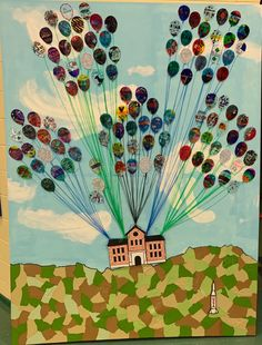 """Class legacy project. Following the theme from the Disney movie""""UP"""". Each student designed a balloon with shrink plastic. All the pieces were mounted to a 6'x8' canvas. The clouds were made with modeling paste to give it some dimension and the ground was decoupage scrapbook paper in earth tone color. Some the paper was wrinkled up to give the appearance of rough terrain. The school and rocket were cut from form board and in layers to give it some depth. Disney Movie Up, Form Board, Legacy Projects, Modeling Paste, Shrink Plastic, Earth Tones, Scrapbook Paper, Decoupage, Balloons"""