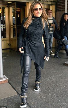 Jennifer Lopez in Rick Owens top and Giuseppe Zanotti hi top trainers