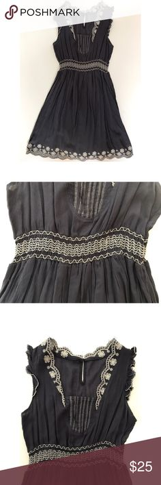 Cute colonial vintage style dress Faded navy blue dress complete with embroidered flowers & pleated chest. Sinched waist shows off your figure while cut out sleeves add class. Super lightweight and perfect for warm weather. In perfect condition Dresses