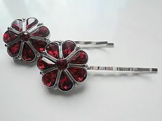 Deep Red Rhinestone Bobby Pins For Hair Wedding Embellishments Accessories Barrettes 26mm.